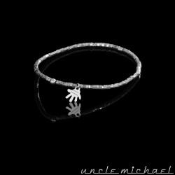 Bracelet Uncle Michael Hématite argenté rond écrou 2 mm
