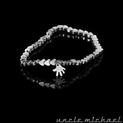 Bracelet Uncle Michael Hématite argenté coeur 4 mm