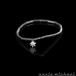 bracelet Uncle Michael Hématite argenté tube 3*9 mm